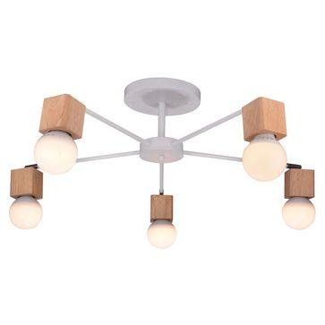Lampa AMPIO AMPLA 5xE27 - biała/drewno