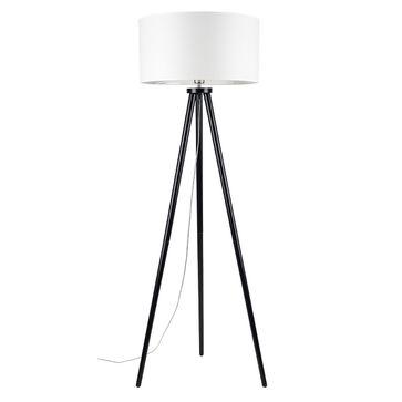 Lampa podłogowa ENNIE A0208 drewno E27 - czarny/beżowy