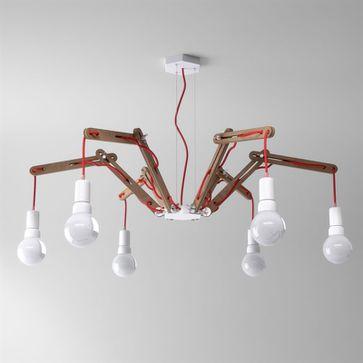 Lampy wiszące LOFT Spider z drewnianym lub metalowymi ramionami