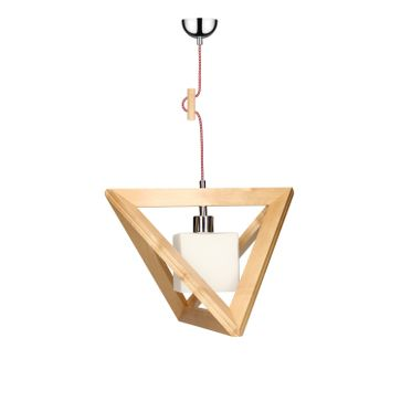 Lampa wisząca TRIGONON WOOD E27 - brzoza/chrom/biały 6