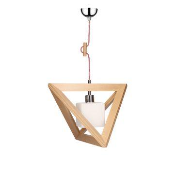 Lampa wisząca TRIGONON WOOD E27 - buk/chrom/biały 5