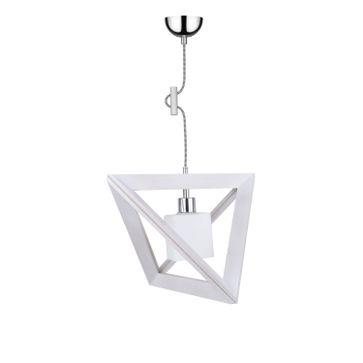 Lampa wisząca TRIGONON WOOD E27 - dąb bielony/chrom/biały 4
