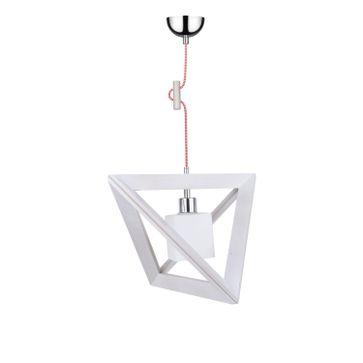 Lampa wisząca TRIGONON WOOD E27 - dąb bielony/chrom/biały 5