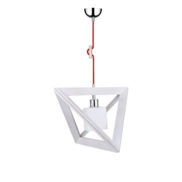 Lampa wisząca TRIGONON WOOD E27 - dąb bielony/chrom/biały 6