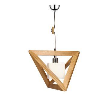Lampa wisząca TRIGONON WOOD E27 - dąb/chrom/biały 4