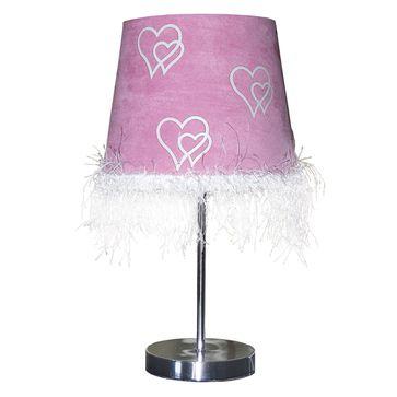 Lampka biurkowa Serduszko E27 -różowa