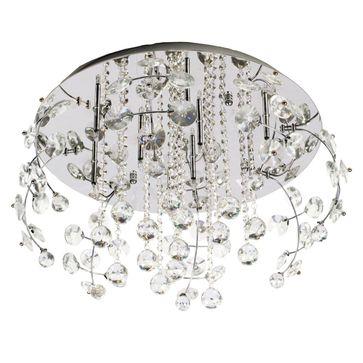 Plafon Crystal 9xG4 -srebrny